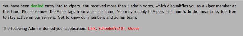 Application Denied by Admins