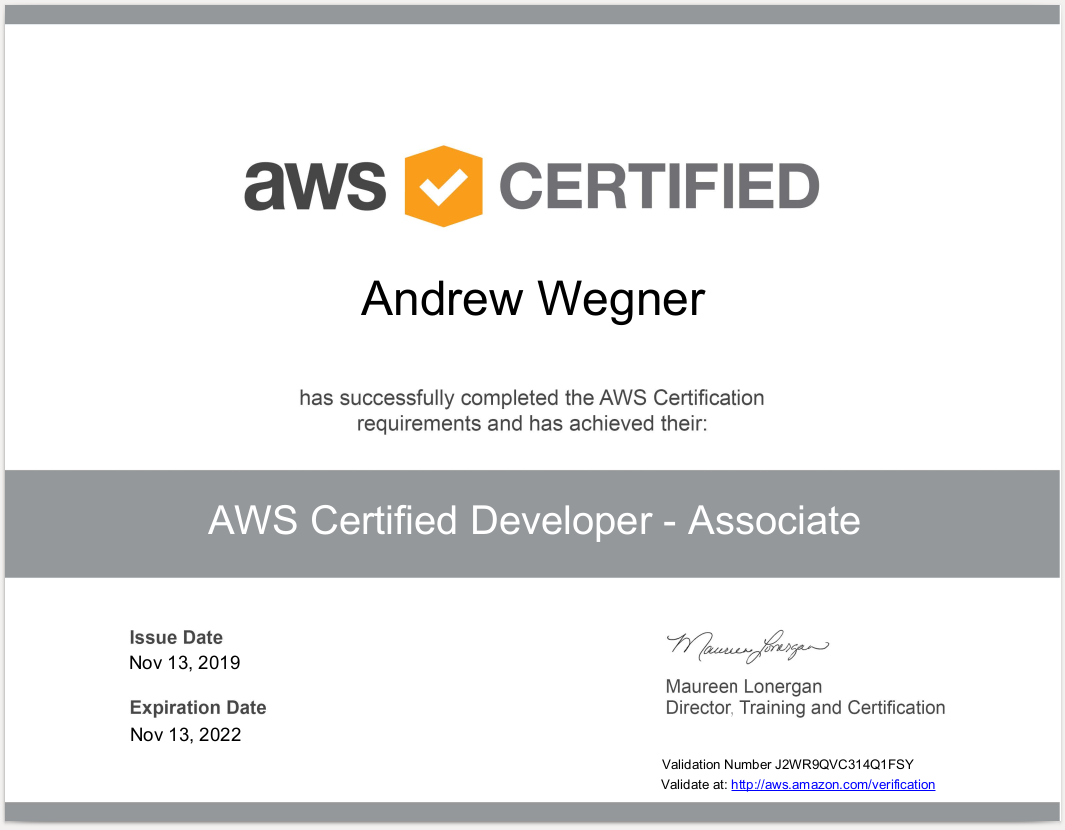 AWS Certified Developer - J2WR9QVC314Q1FSY