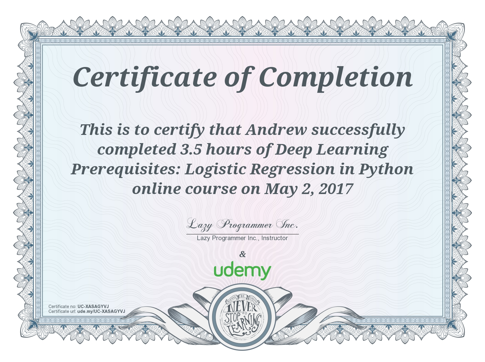 Linear Regression Completion Award