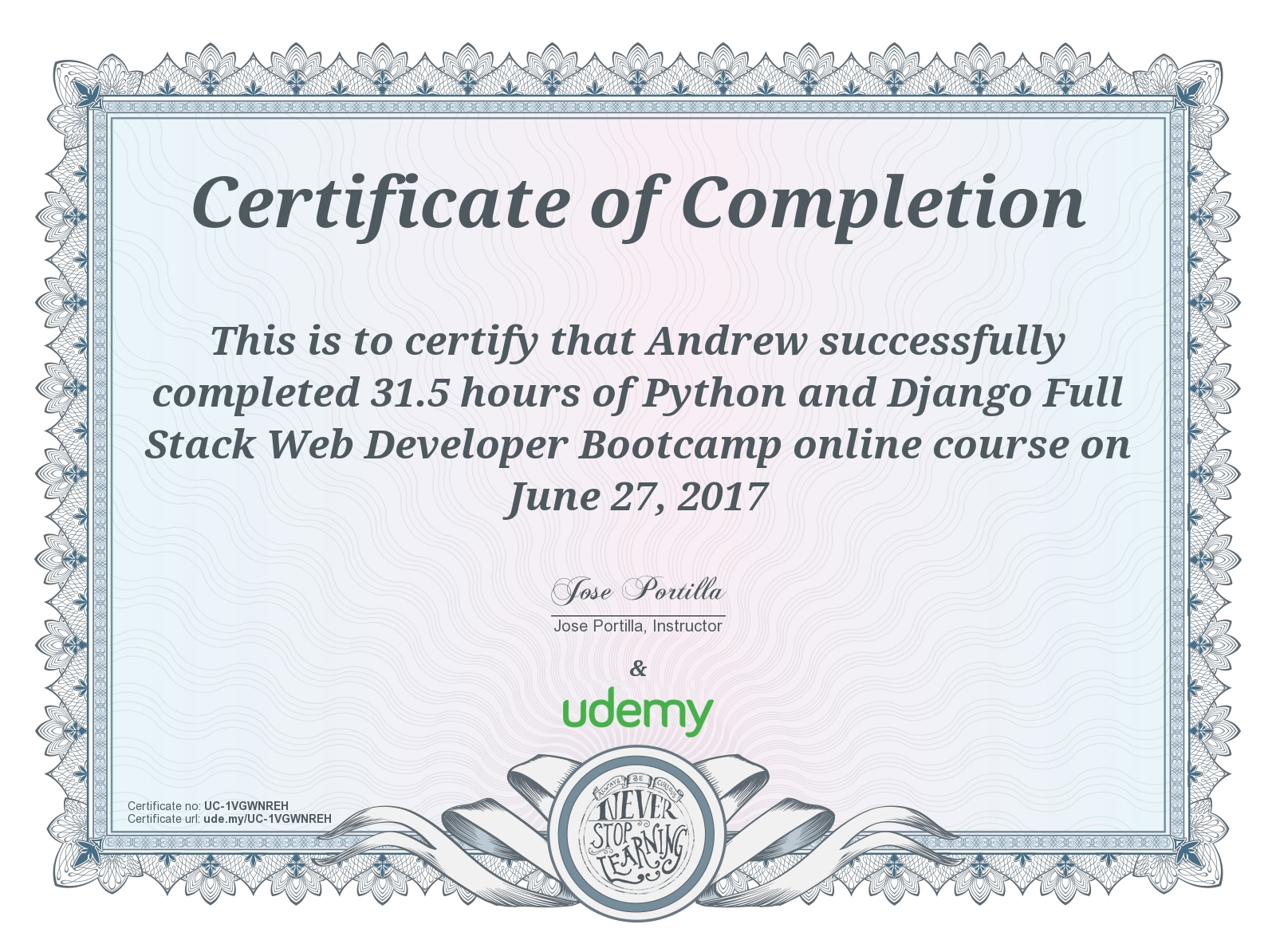 Python and Django Full Stack Web Developer Bootcamp Award